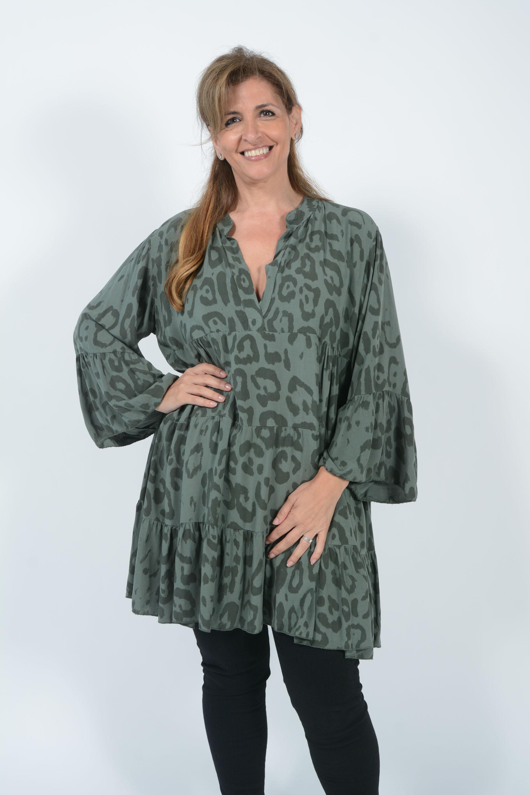 Belle Love Italy Leopard Print Smock Dress