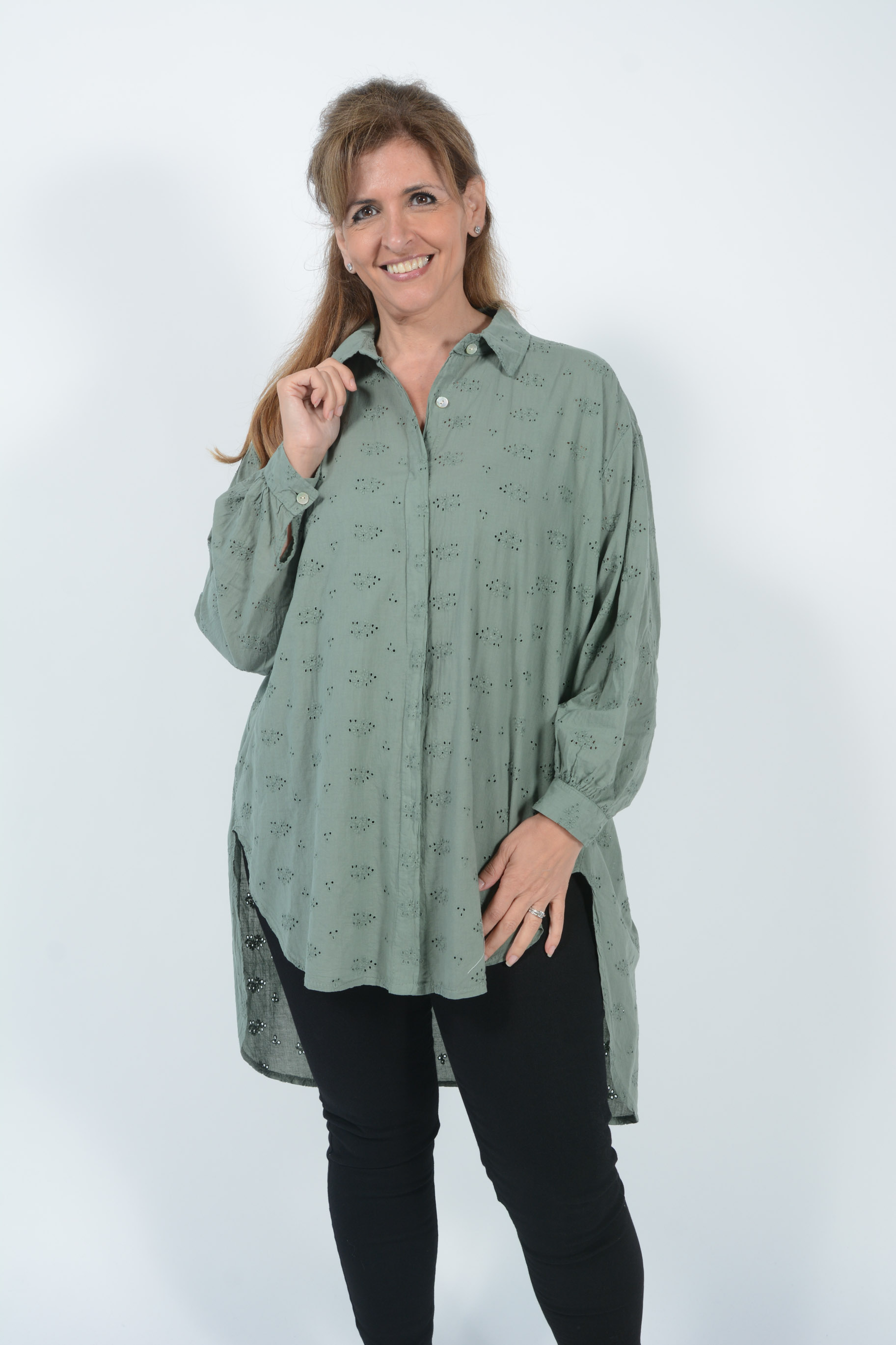 Belle Love Italy Broiderie Anglaise Oversized Shirt