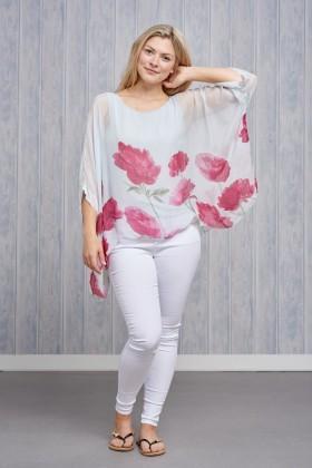 Belle Love Italy Flower Silk Print Top
