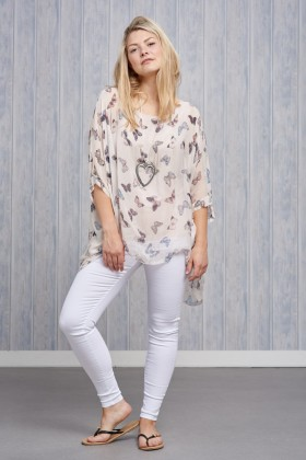 Belle Love Italy Butterfly Silk Print Top