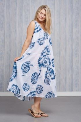 Made In Italy Tie-Dye Print Dress