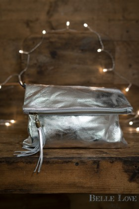 Belle Love Italy Metallic Tassle Clutch Bag