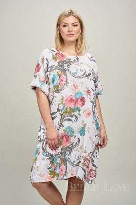 Belle Love Italy Floral Lagenlook Linen Dress
