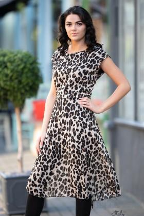 Belle Love Italy Leopard Print Pleated Dress