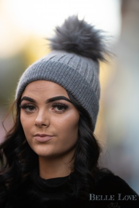 Belle Love Italy Two Tone Pom Pom Hat