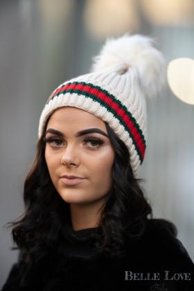 Belle Love Italy stripe Pom Pom Hat