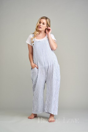 Belle Love Italy Rosi Pinstripe Linen Dungarees