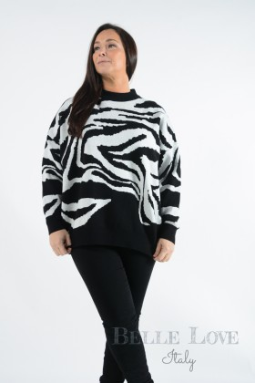 Belle Love Italy Annalee Zebra Print Jumper