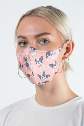Belle Love Italy French Bulldog Pink Face Mask