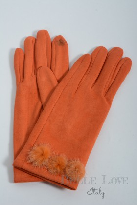 Belle Love Italy Maisie Faux Suede Pom Pom Gloves
