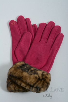 Belle Love Italy Genevieve Suede Faux Fur Cuff Gloves